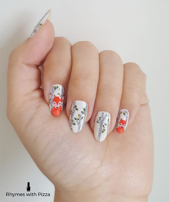 Fall Nail Tutorial - Woodland Fox Step-By-Step | Pinterest | Foxes ...