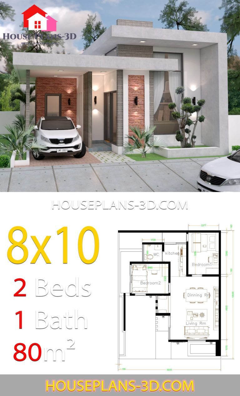 House Design 8x10 With 2 Bedrooms Terrace Roof House Plans 3d In 2020 Little House Plans Sims House Plans House Construction Plan