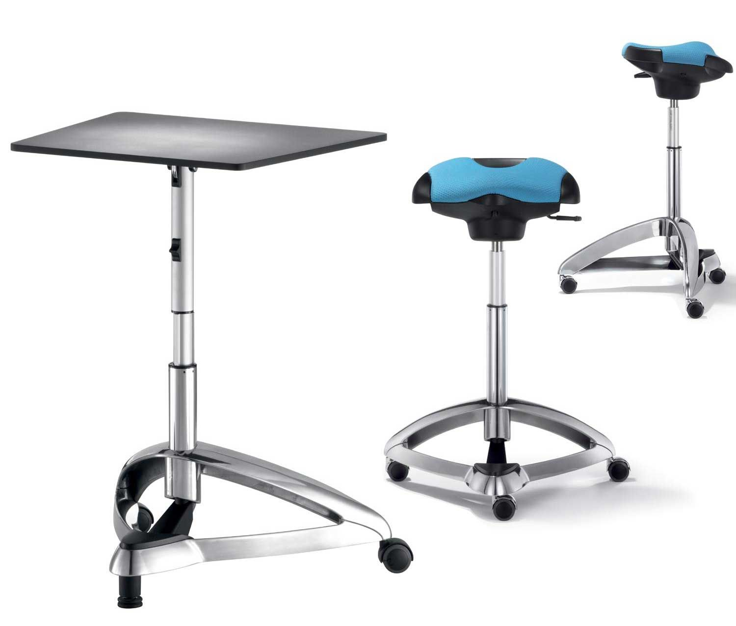 Backless ergonomic chair - Dolpdhin Futuristic Metal Standing Office Desk And Seats