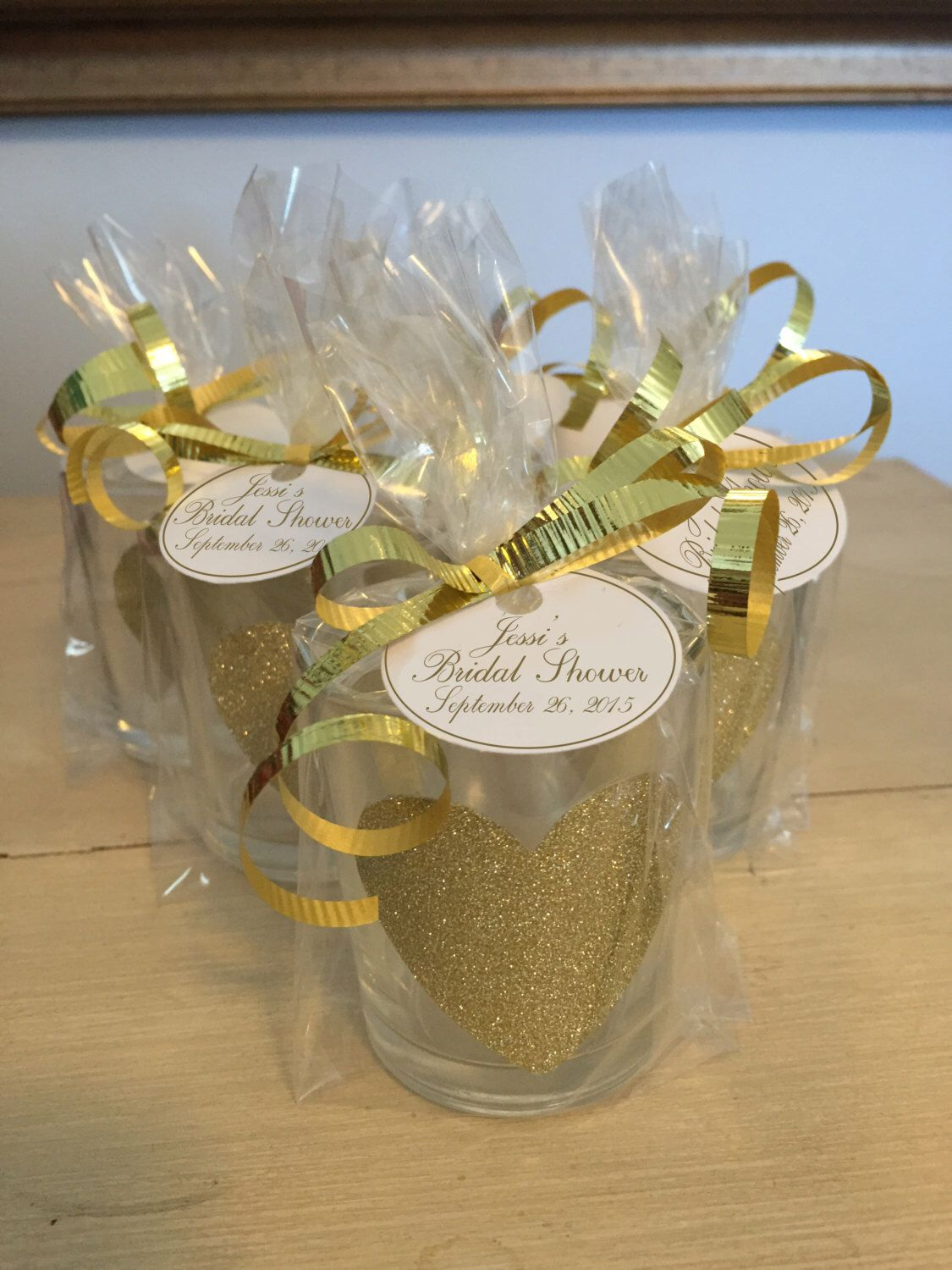gold glitter wedding favor votive candle holders bridal shower place cards baby shower thank you gift heart glitz bling vintage hollywoo