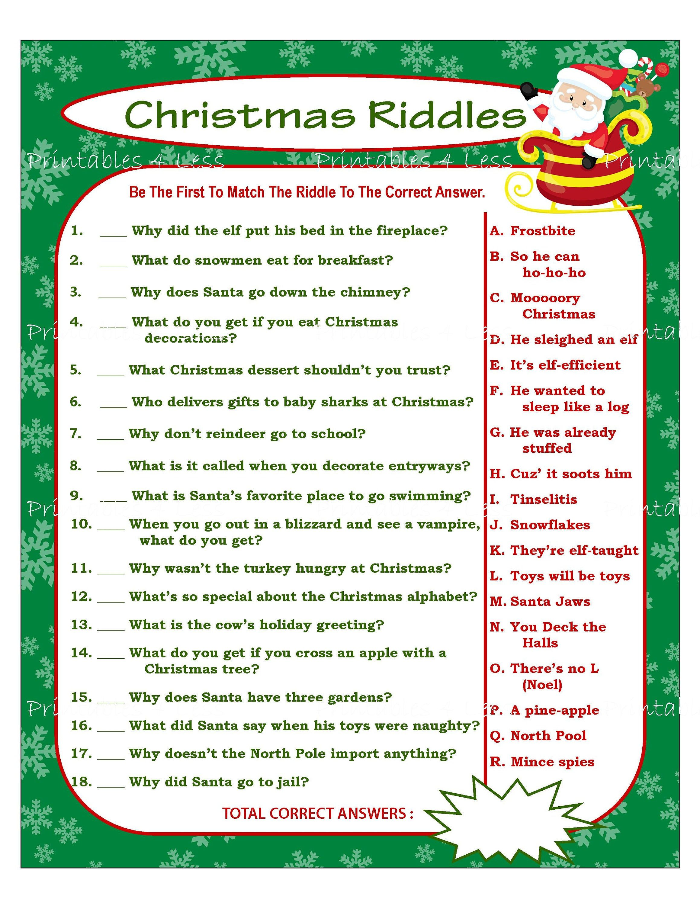 Christmas Riddles Christmas Party Game Holiday Party Game Etsy Christmas Riddles Printable Christmas Games Holiday Party Games