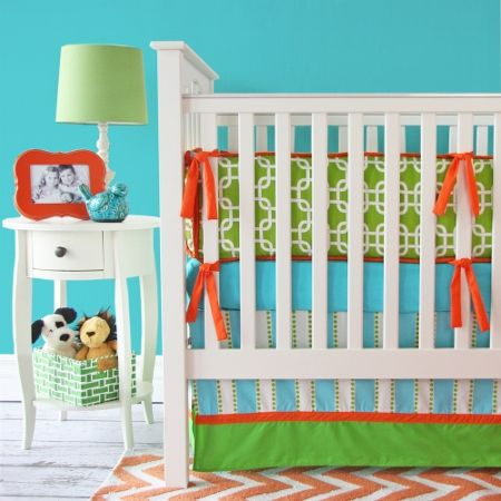 4 Piece Crib Bedding Baby Girl Bright Flower /& Polka Dot Red Turquoise Blue Pink