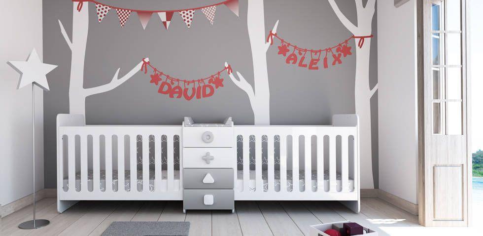 Lit bébé évolutif pour jumeaux (2 lits bébé 60x120 cm) | Chambre ...