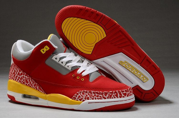 new style 7ee8f 15605 Classic Nike Jordan 3 Retro Sneakers (Red Yellow White) New Hip Hop