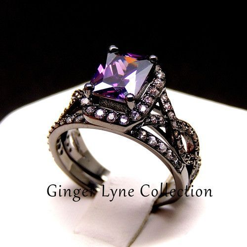 Sally Very Elegant Black and Purple Engagement Ring and Wedding Band