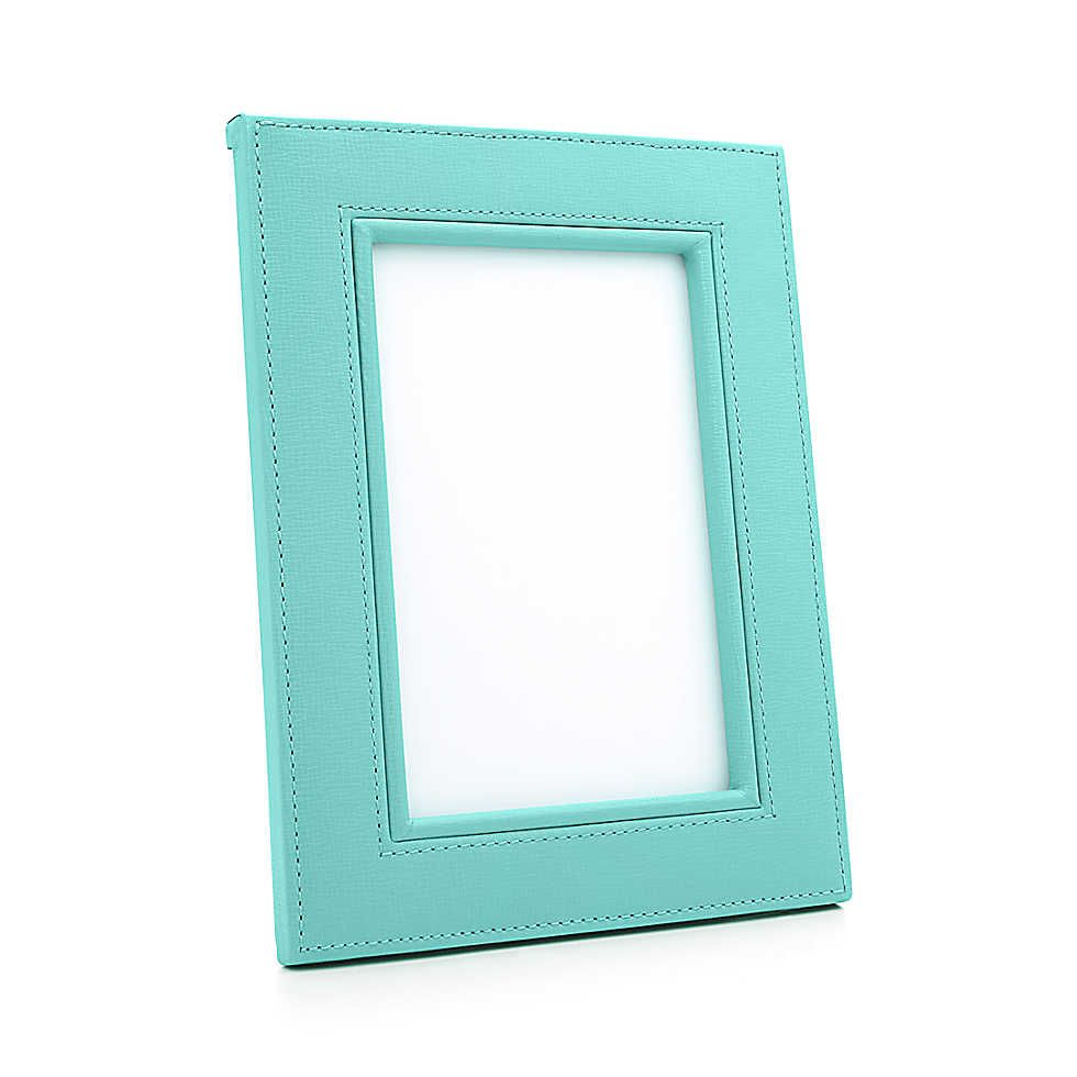 Rectangular Frame In Tiffany Blue Leather 230