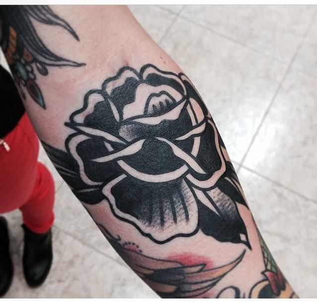 Traditional tattoo black rose by joshua marks out of ets for Traditional black and grey tattoo