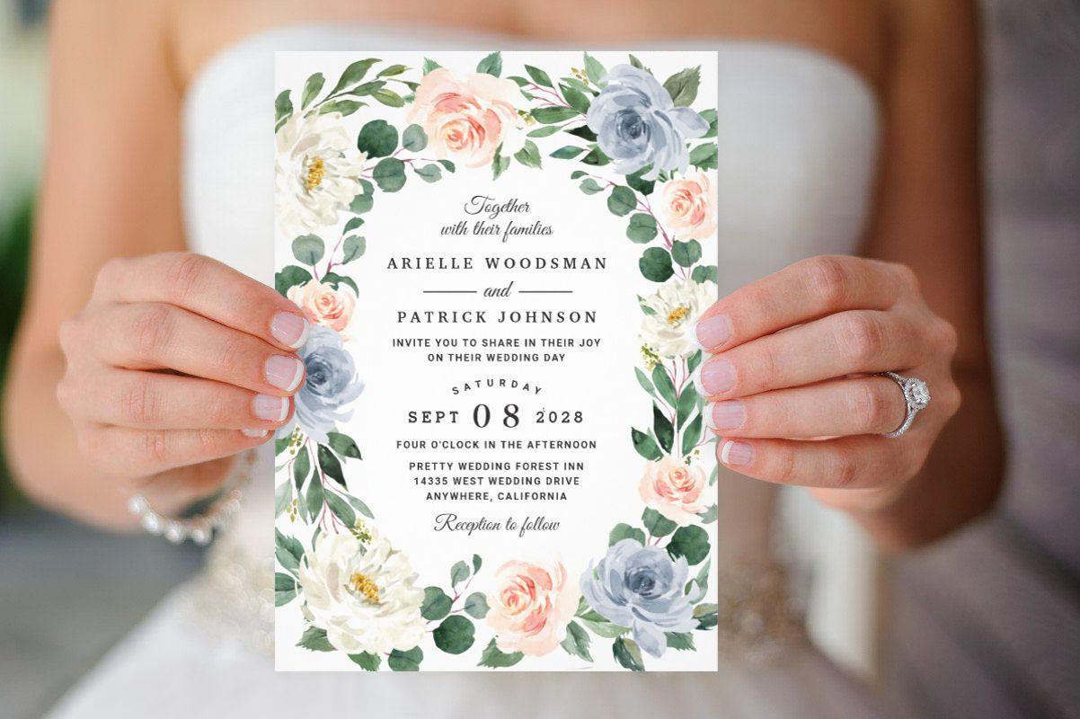 Elegant Dusty Blue Blush Pink Peach Floral Wedding Invites