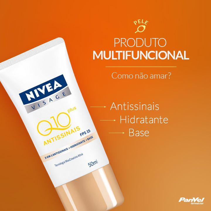 O Q10 Plus Antissinais da Nivea possui hidratante, base translúcida com FPS 15 e reduz as rugas visivelmente, além de prevenir o aparecimento de novos sinais de envelhecimento da pele. #nivea #panvel