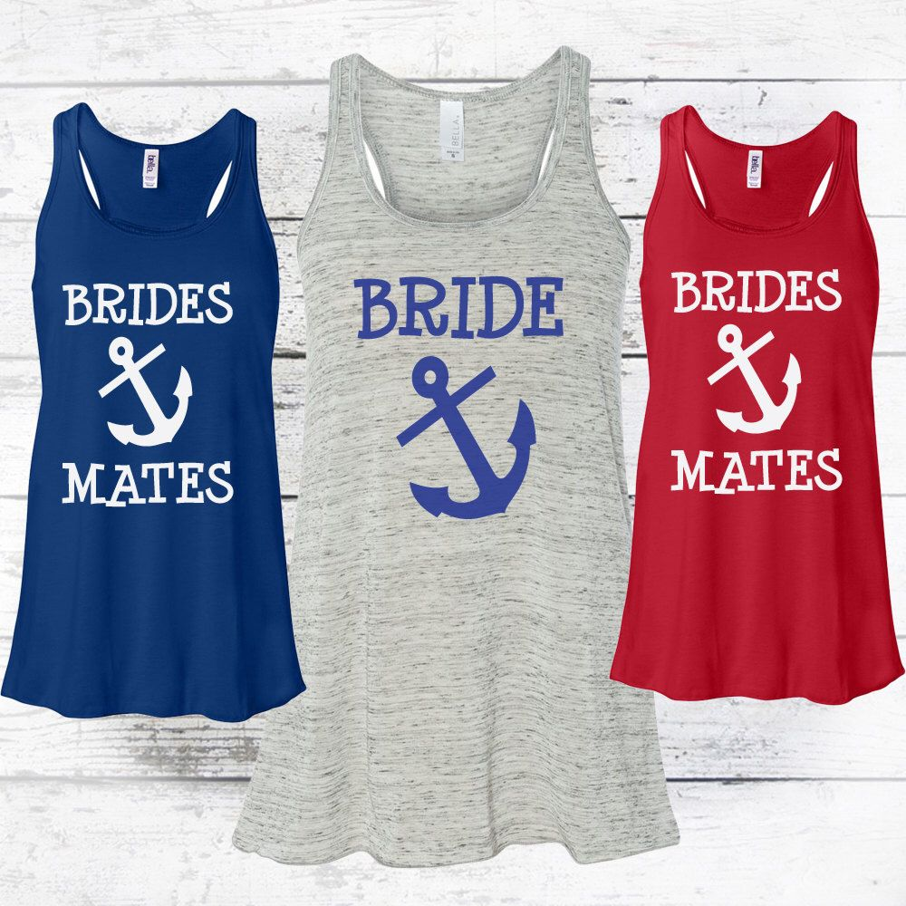 Cute anchor bridal party tank tops by mad jo apparel perfect for dream wedding cute anchor bridal party tank tops by mad jo apparel perfect for nautical themed weddings ombrellifo Images