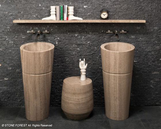 Elegant Veneto Pedestal Sinks And Custom Stand In Siena Silver Grey Marble By Stone  Forest