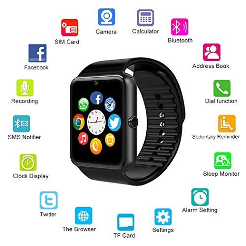 7ce070a3b67 MSRM Smart Watch 1.54 Inch Touch Screen Support Android 4.3 above and  Iphone5s 6 6s 7 7s Call Sync and Anti lost (Partial Functions for iPhone)