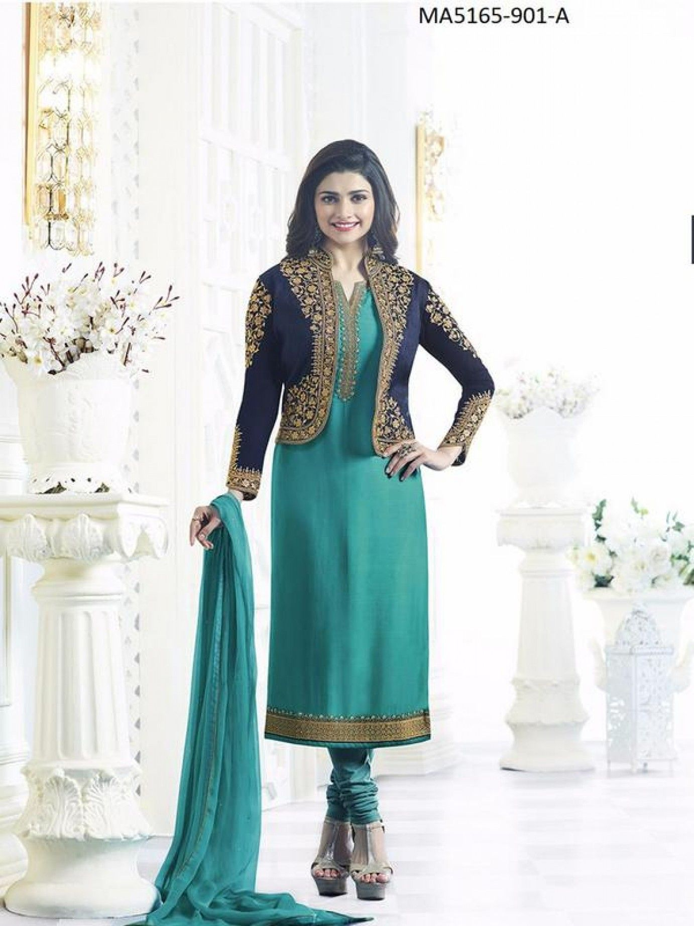 Green Colour Embroidery Satin Chudidar Salwar Kameez.Party Satin ...