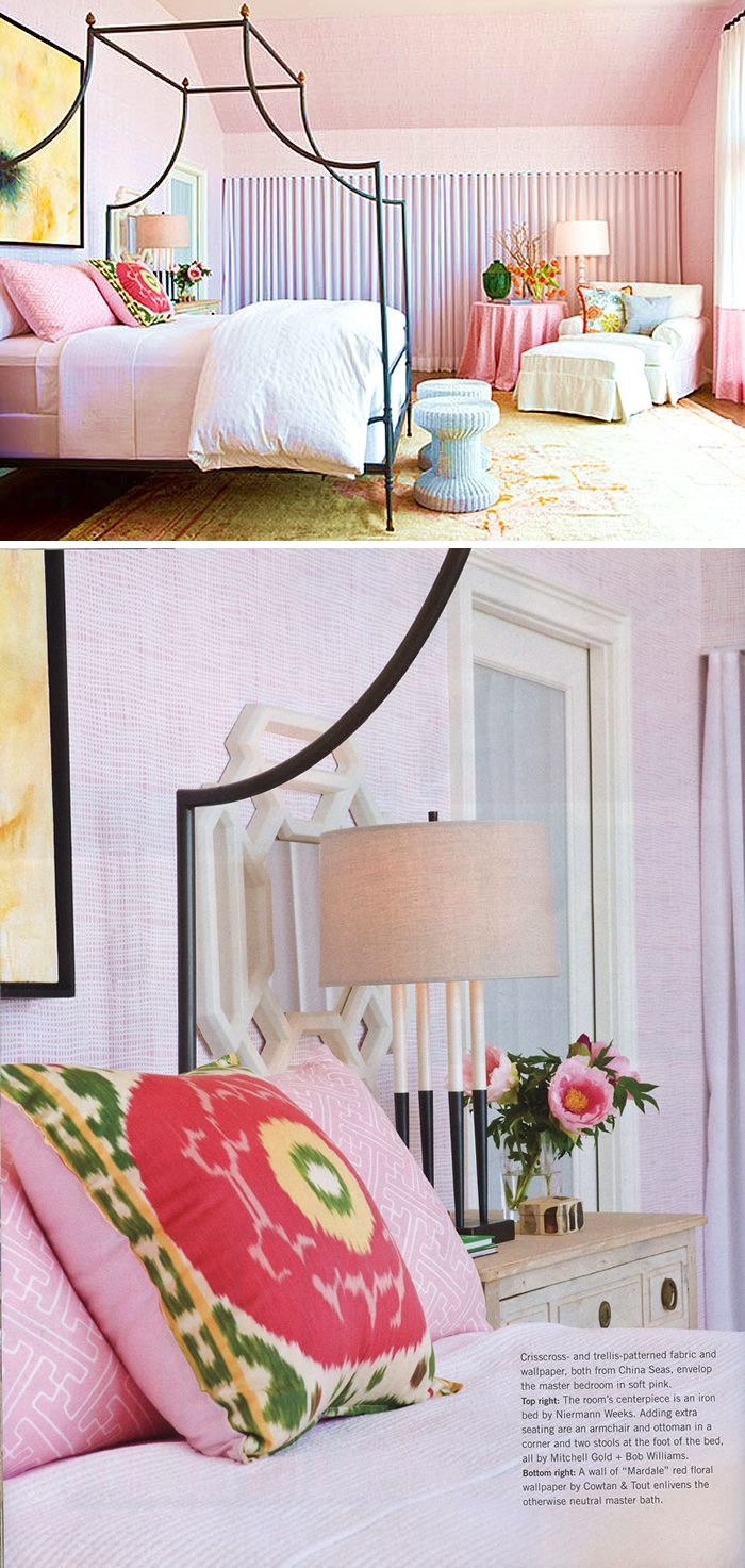 adorable pink bedroom. Quadrille, China Seas, Alan Campbell, Home Couture. criss cross