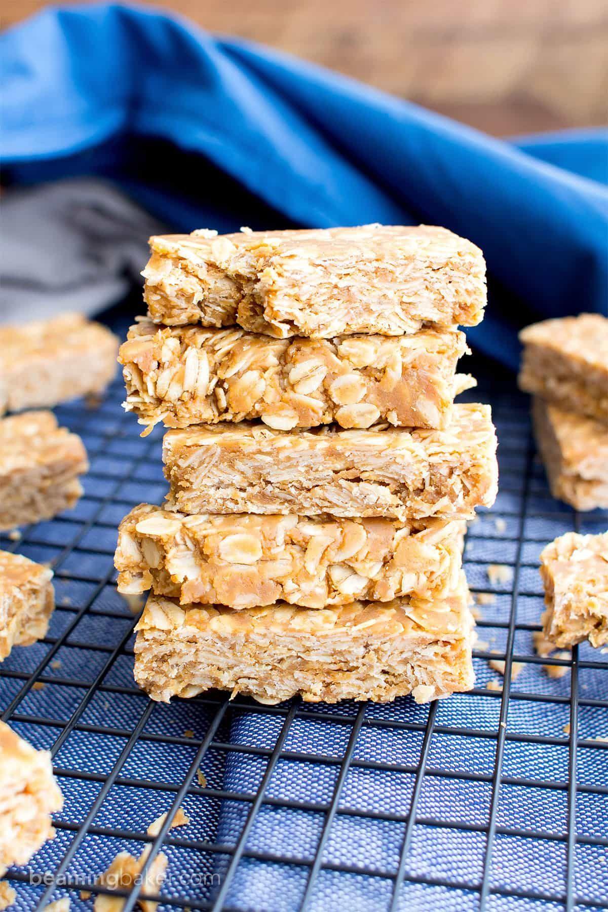 3 Ingredient No Bake Gluten Free Peanut Butter Granola Bars V Gf