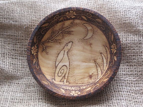 Touchwoodcraft on Etsy - hand-pyrographed moon-gazing hare bowl. I think pyrography and paganism are very happy bedfellows.