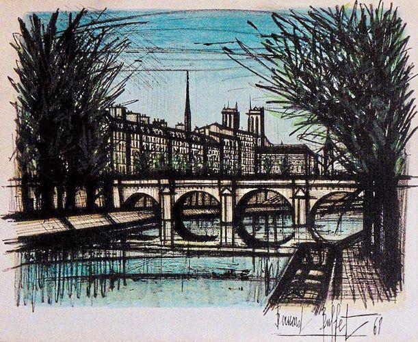 Pont St. Martin, Paris 1968 by Bernard Buffet, Limited Edition Print, Lithograph