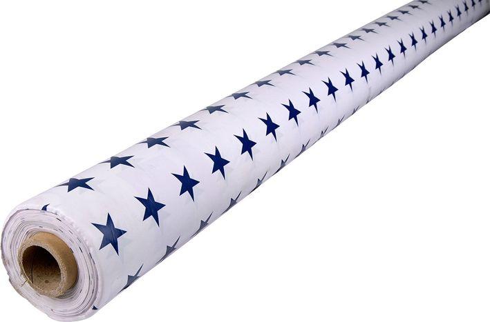 Vaxduk, Stjärna metervara 140 cm, vit med blå stjärnor 1 m, 3107985