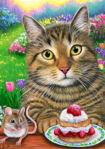 ACEO original tabby cat mouse strawberries spring landscape painting art | Art, Paintings | eBay!
