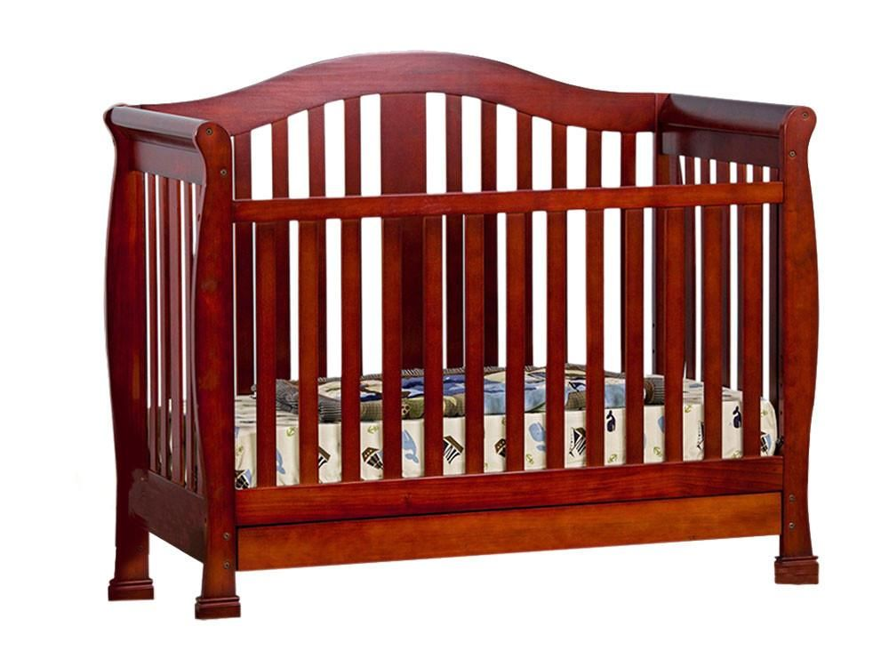 Dream On Me Addison 4 In 1 Convertible Crib With Toddler Rail And Storage Cherry Convertible Crib Cribs Kids Room