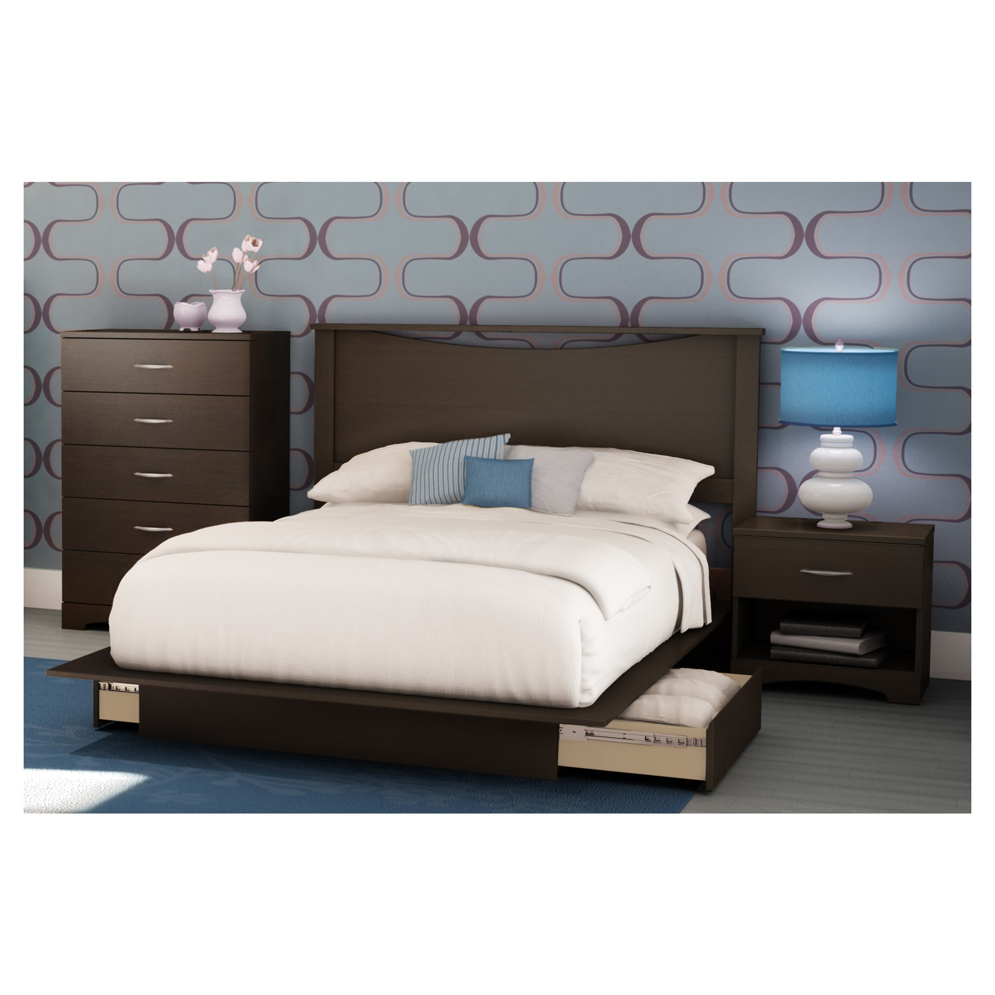 Step One Platform Bed Full Queen Chocolate (Brown