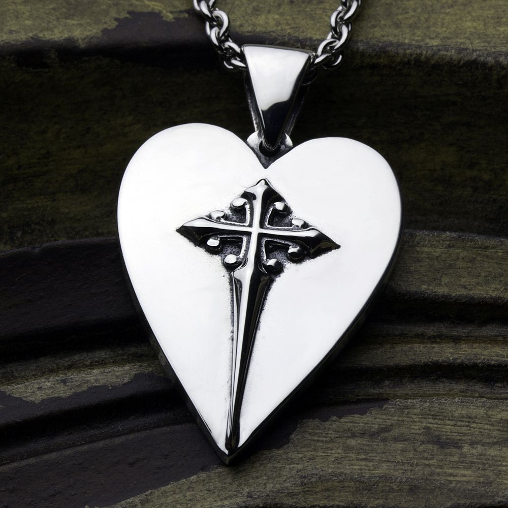 Sterling Silver Christian Jewelry Heart With Cross Necklace Pendant