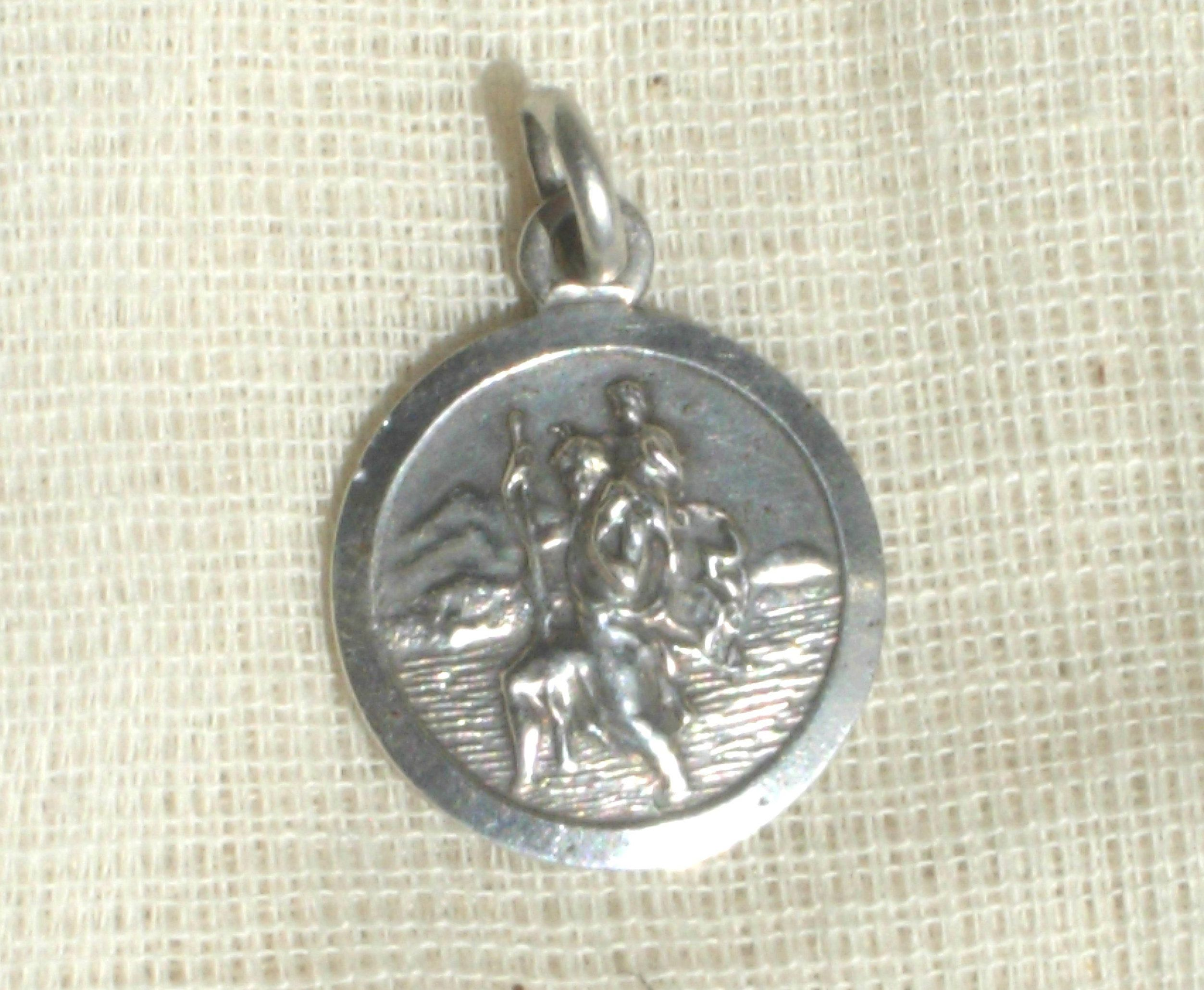 with silver saint necklace pendant chain sterling steel in stainless christopher