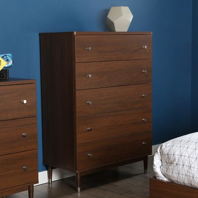 South Shore Olly Mid Century Modern 5 Drawer Chest U0026 Reviews | Wayfair