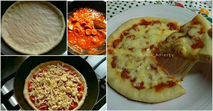 Resep Pizza Teflon Eggless Dengan Bumbu Topping Spesial Super Endasssss Makanan Dan Minuman Makanan Resep