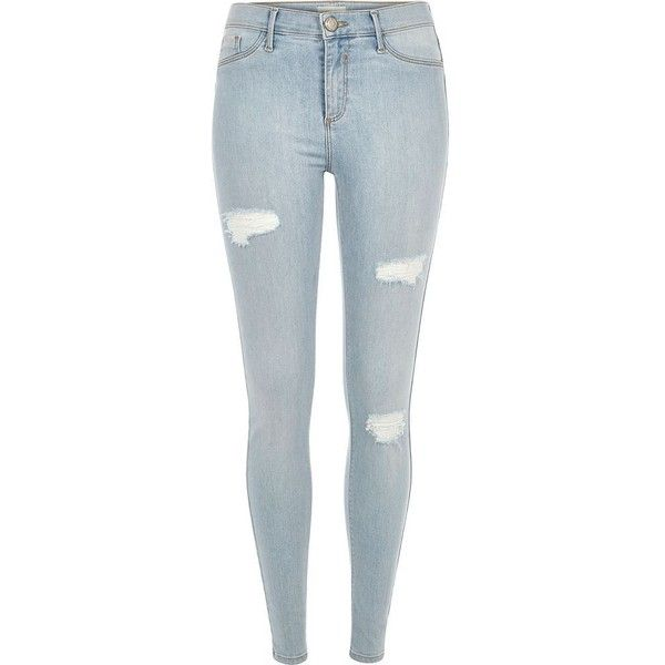 River Island Light wash dipped Molly jeggings (€78) via Polyvore featuring pants, leggings, jeans, jeggings, women, jeggings leggings, destroyed jeggings, distressed leggings, zipper leggings y denim leggings