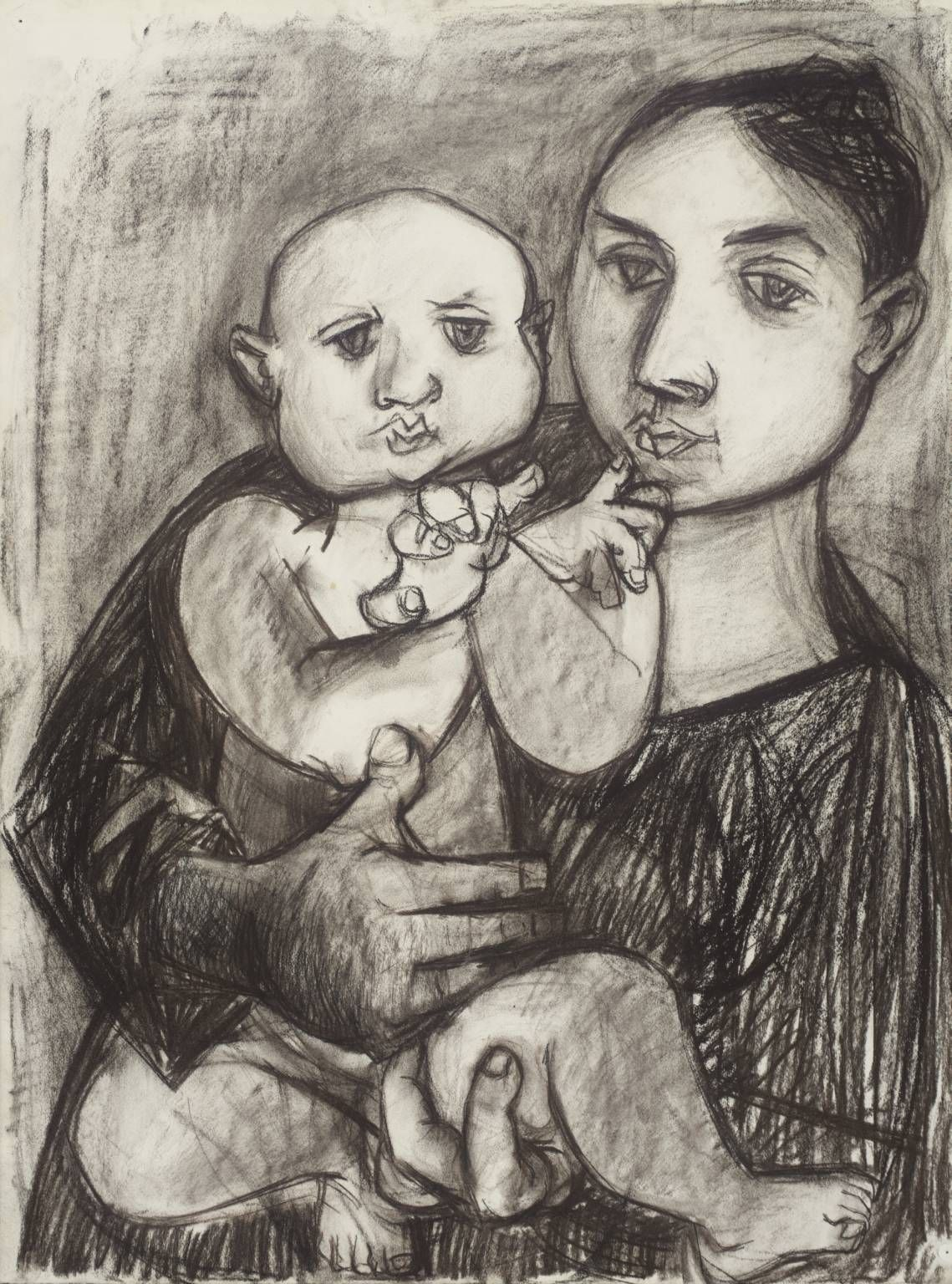 Peter De Francia (1921–2012), Mother and Child, c.1953, Charcoal and Conté crayon on paper, 772 x 573 mm | Collection Tate