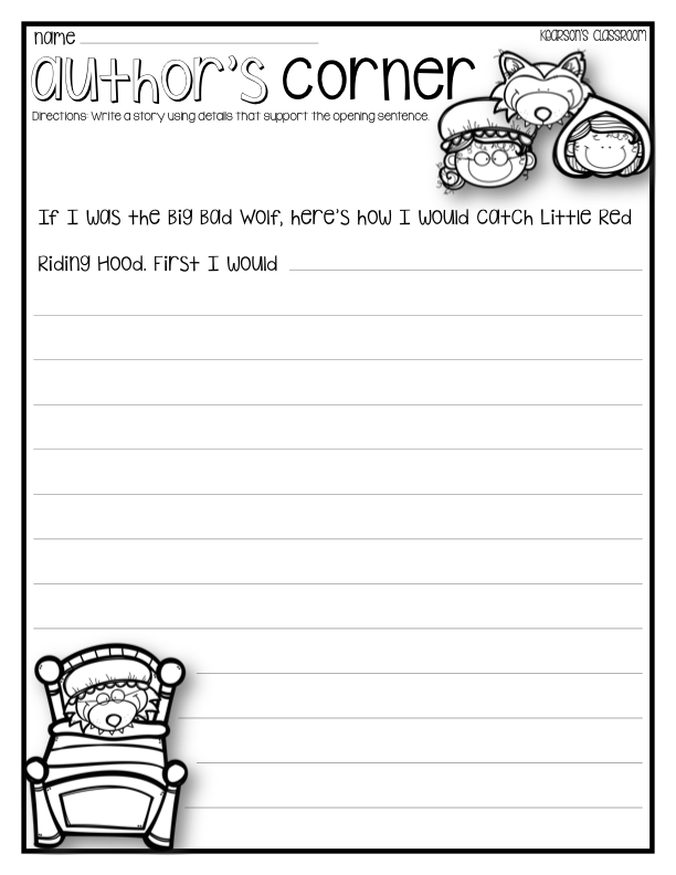 Author's Corner Little Red Riding Hood writing activity