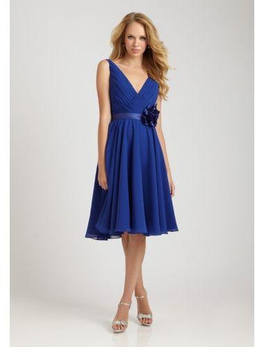 chiffon kleid v-ausschnitt blau knielang