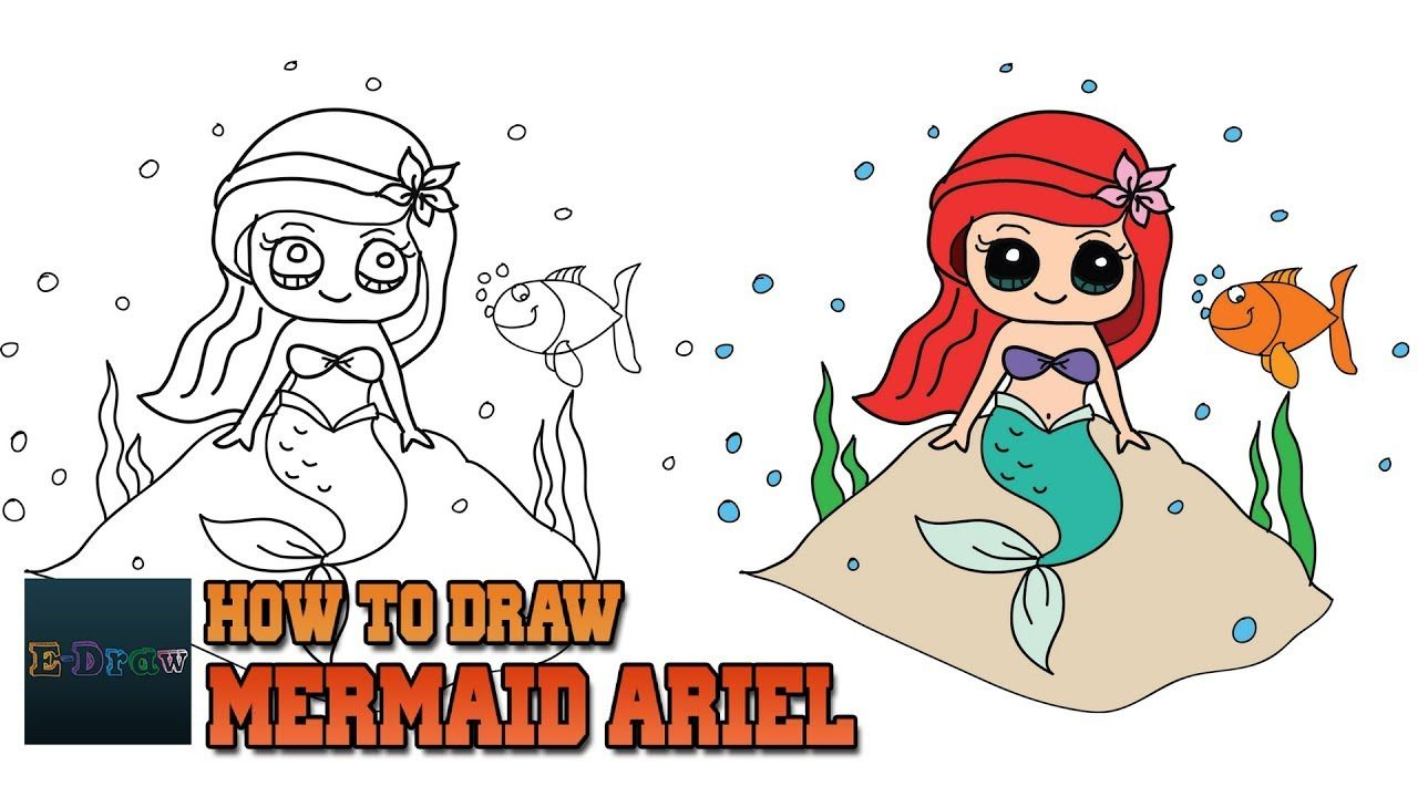 How To Draw Mermaid Ariel Cute And Easy Step By Step For Kids How