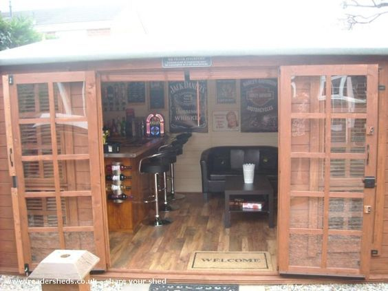 The drunken duck a pub shed garden pinterest for Man cave shed plans