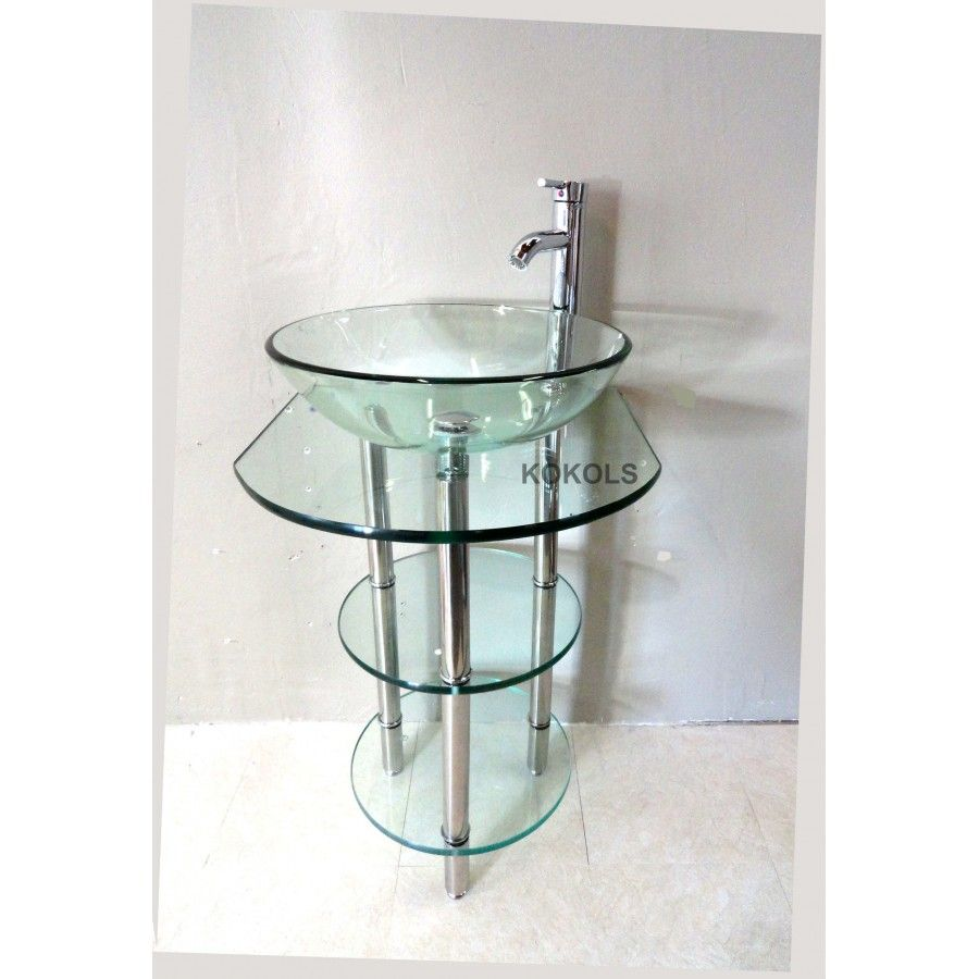 Website Picture Gallery  inch wall mounted sngle chrome metal pedestal bathroom vanity include clear vessel