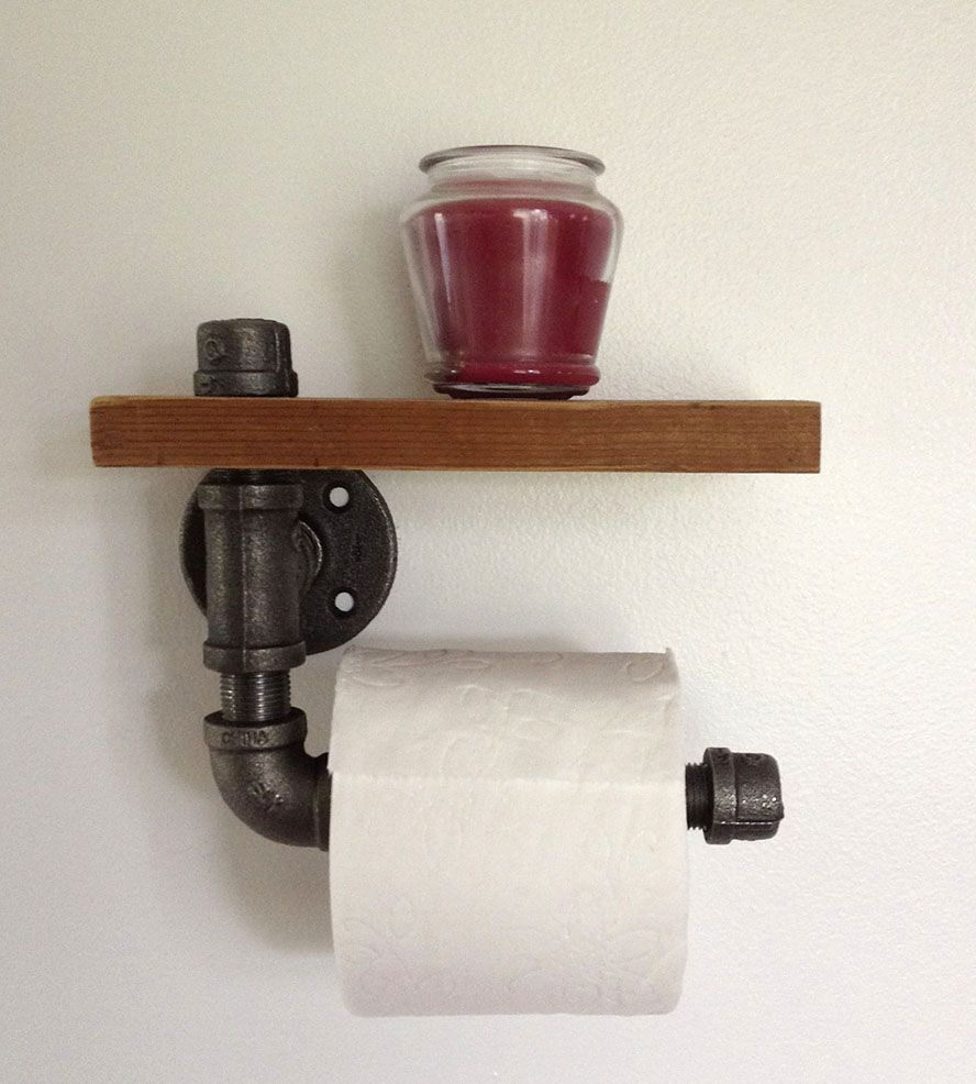 Reclaimed Wood Pipe Toilet Paper Holder Home Bathroom Pa