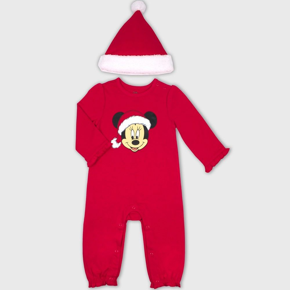 Baby Girl or Boy Red Mickey and Minnie Mouse Santa Selfie T Shirt