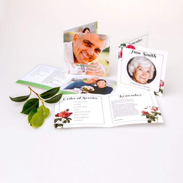 Square Format Funeral Stationery. Also Know As A Funeral Program