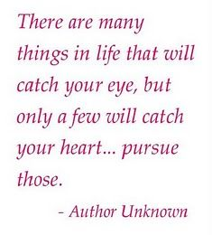 """""""There are many things in life that will catch your eye, but only a few will catch your heart... pursue those.""""   ~ Michael Nolan"""