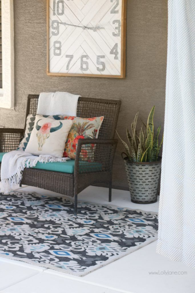 Painted Concrete Patio Tutorial - An Easy Porch Makeover - LollyJane
