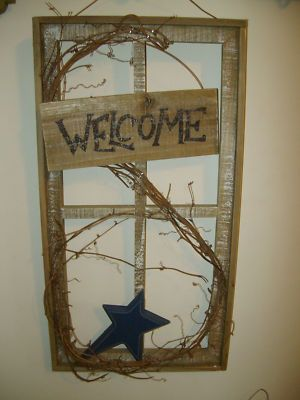 Primitive Country Rustic Barnwood Window Frame Blue Star