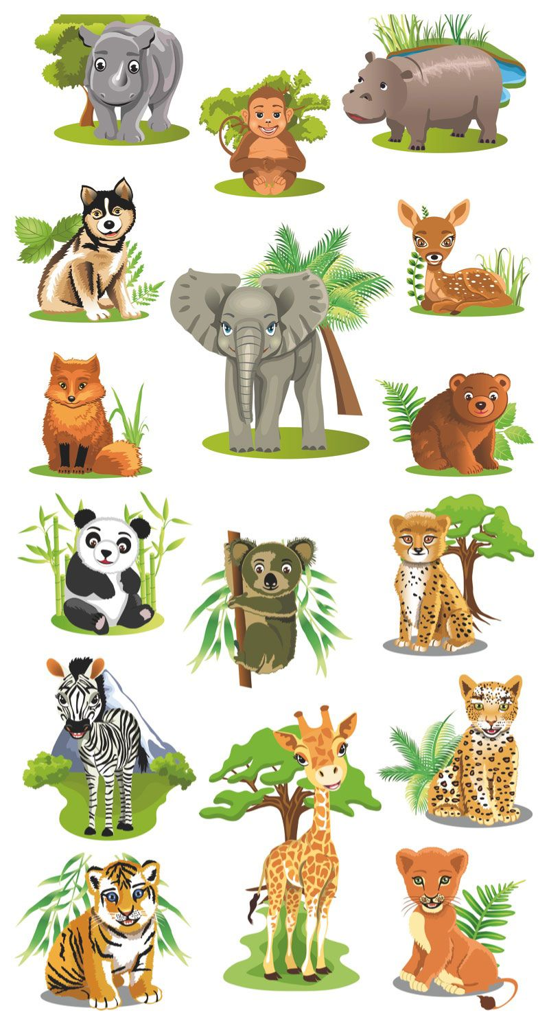 Cartoon animals vector Vector Graphics Blog Clipart