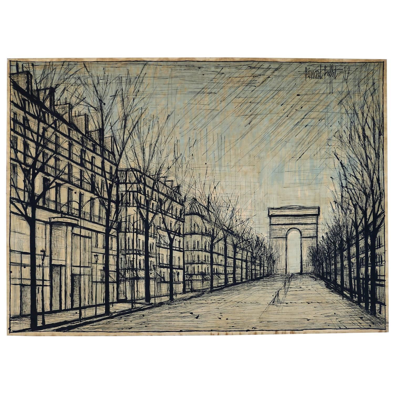 Magnificent 1950S Printed Fabric After A Work By Bernard Buffet Art Download Free Architecture Designs Scobabritishbridgeorg