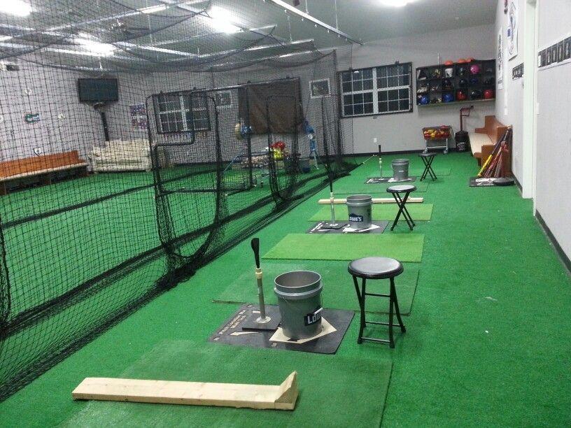 Just Need Quot Homer Buckets Quot Instead Nice Indoor Cage At D2 Baseball Academy Indoor Batting Cage Backyard Baseball Baseball Training