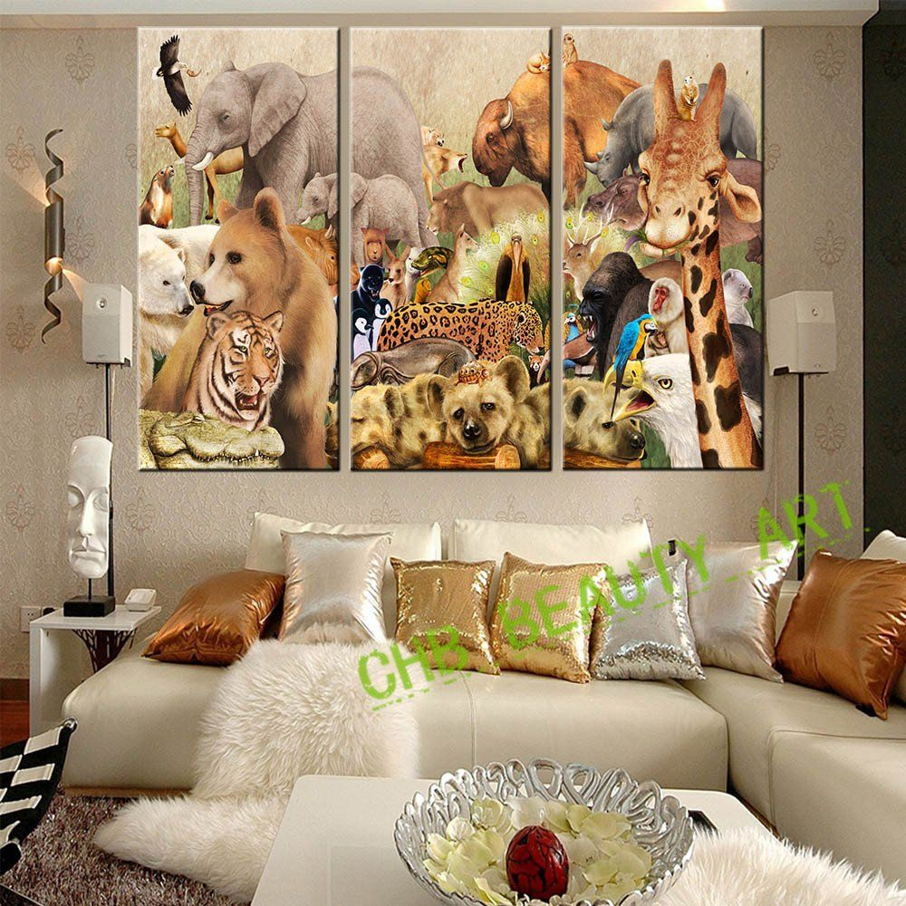 Paintings For Living Room Wall 3 Pieces Canvas Wall Art Canvas Painting Animal World Wall