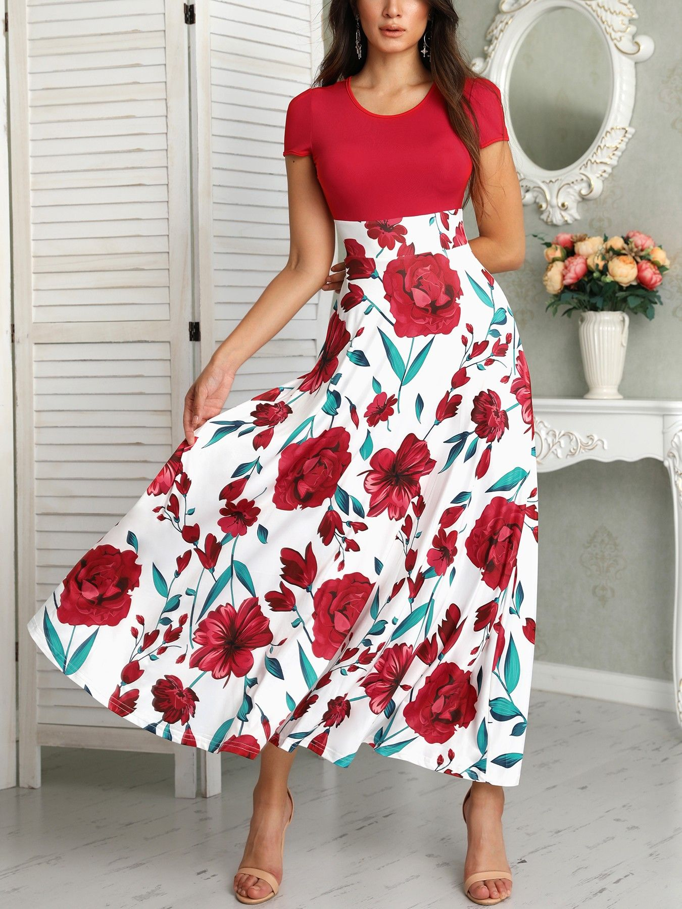 c34c4f492a Short Sleeve Floral Print Maxi Dress | Red White & Blue Theme in ...