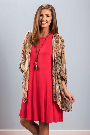 The Pom Pom Kimono, Taupe-Red