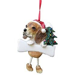 Beagle Christmas Ornament With Unique Dangling Legs Hand Painted