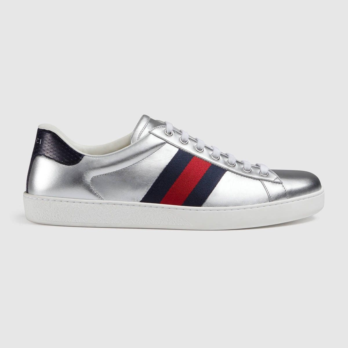 71ddef62d83f GUCCI Ace metallic leather sneaker - silver metallic leather.  gucci  shoes